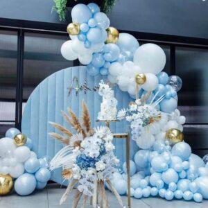 Backdrop sinh nhật xanh trắng xinh đẹp BBX595