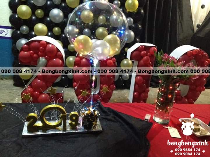 Tường bong bóng trang trí party tân niên 2019 TBB050