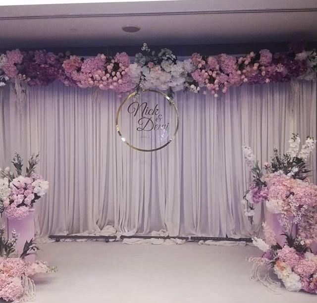 Backdrop tiệc cưới hồng pastel BBX053