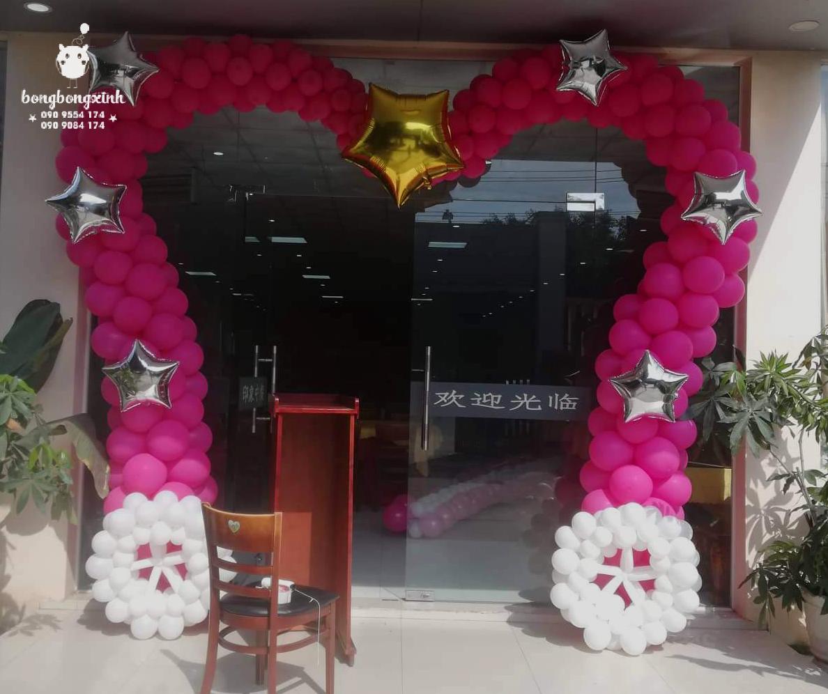 Cổng chào bong bóng trái tim trang trí tiệc cưới Trung Hoa.BBX054