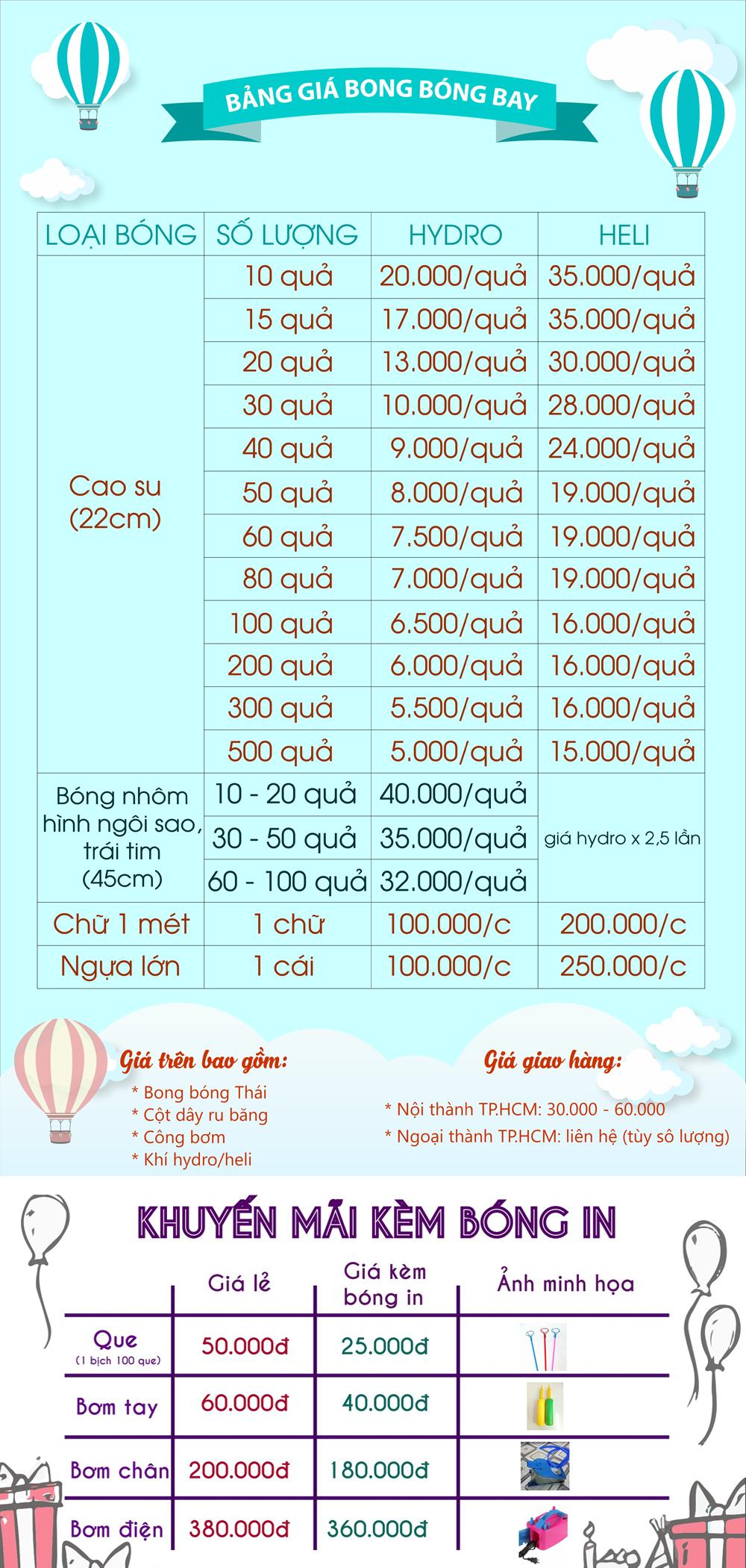 Giá bong bóng bay: