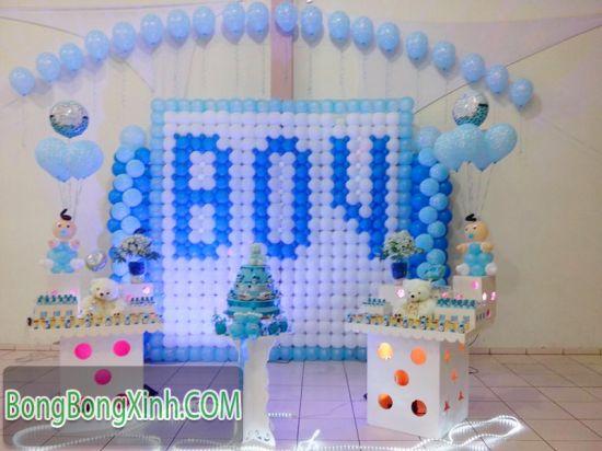 Tường bong bóng màu xanh xinh đẹp 026