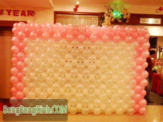 Tường bong bóng hồng trắng xinh xắn 027
