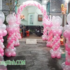 Trụ bong bóng tiệc cưới màu hồng TBB124