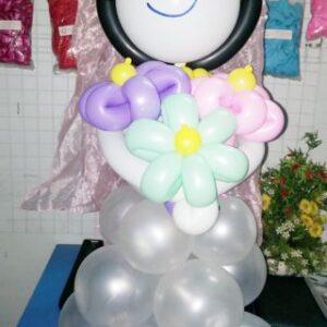 Bong bóng tạo hình cô dâu cầm hoa DR058
