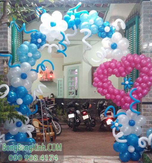 Cổng chào trang trí sự kiện tại nhà màu xanh CD123