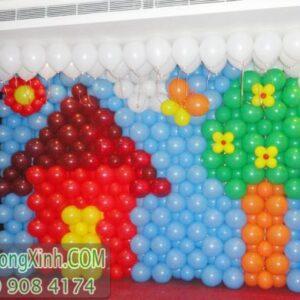 Tường bong bóng hình ngôi nhà TBB031