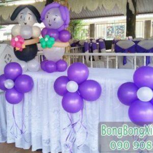 Bàn kí tên tiệc cưới màu tím đáng yêu BKT040