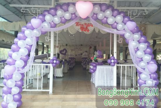 Cổng chào tiệc cưới màu tím trái tim đáng yêu CA108