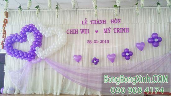 Trang trí sân khấu tiệc cưới trái tim SS038