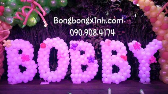 Chữ bong bóng BOBBY hồng xinh đẹp CBB039