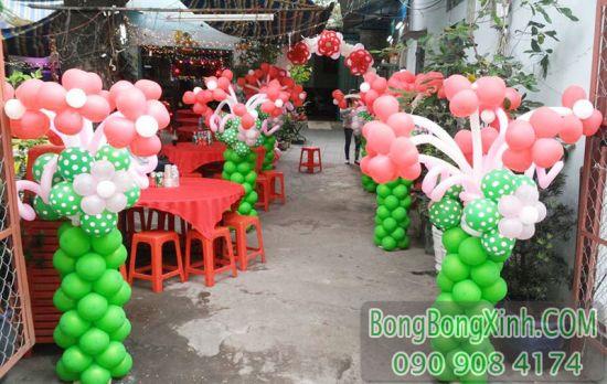 Trang trí đường dẫn bong bóng tiệc cưới tại nhà DDTC037