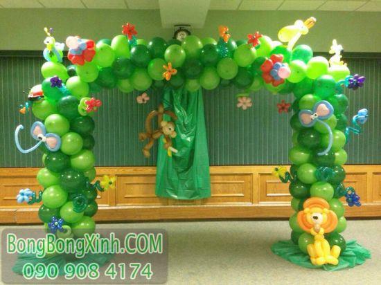 Cổng chào trang trí sinh nhật tạo hình màu xanh lá CB139