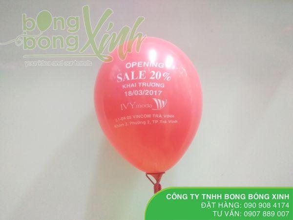 Bong bóng in logo khuyến mãi khai trương sale off 20% BBI023