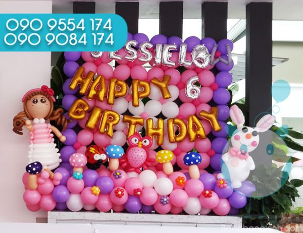 Tường bong bóng trang trí sinh nhật bé gái TBB040