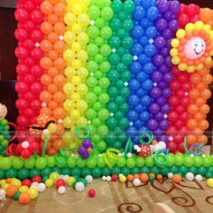 Tiểu cảnh sinh nhật bong bóng Rainbow