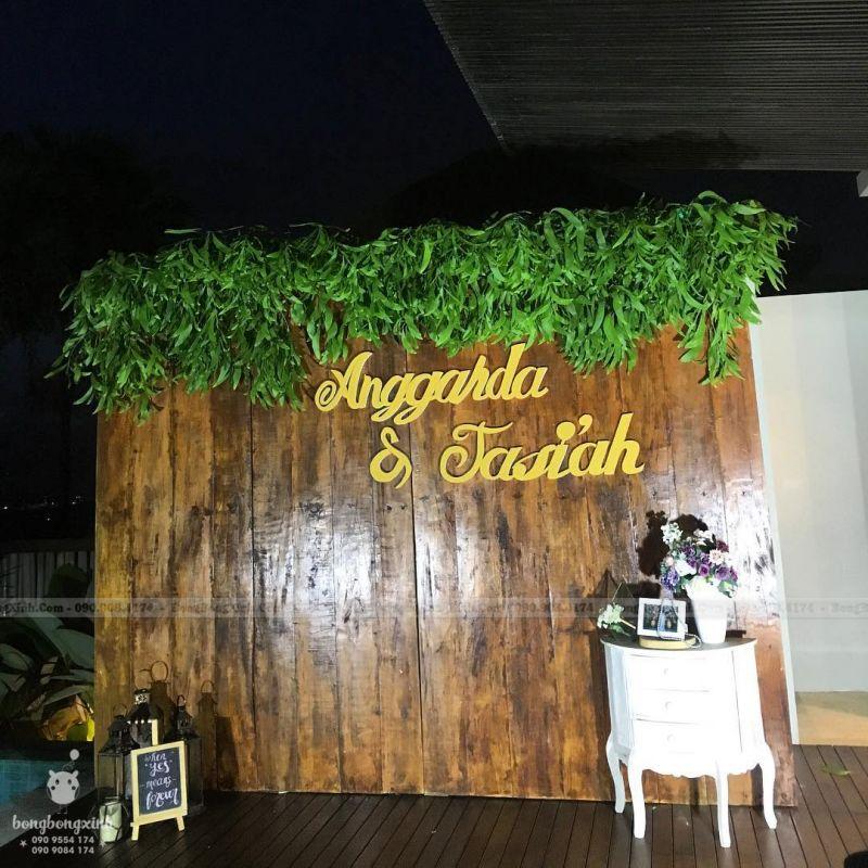 Backdrop tiệc cưới sang trọng gỗ BRC011