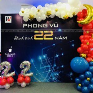 Backdrop khai trương văn phòng Phong Vũ KTVP007 hiện đại