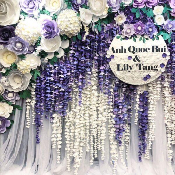Backdrop tiệc cưới hoa giấy và vải voan BBX159