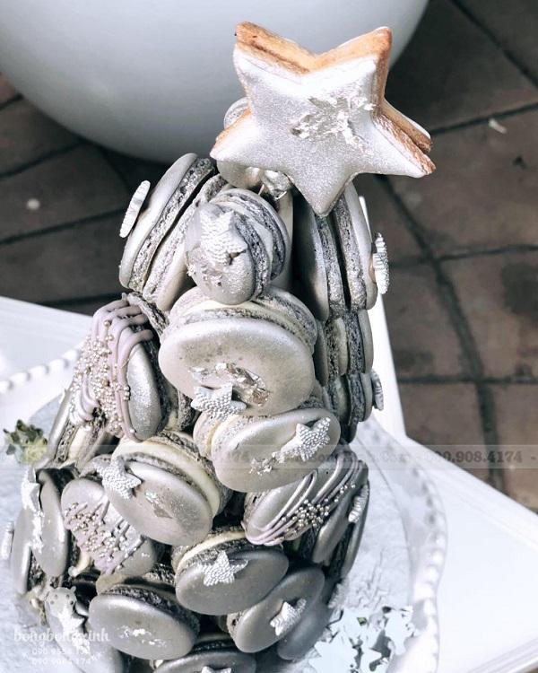 Trang trí sinh nhật trọn gói màu bạc bánh macaron