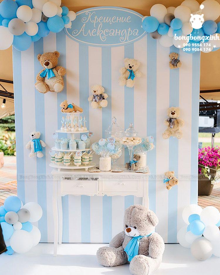 Backdrop sinh nhật cho bé trai chủ đề gấu Teddy BBBN136