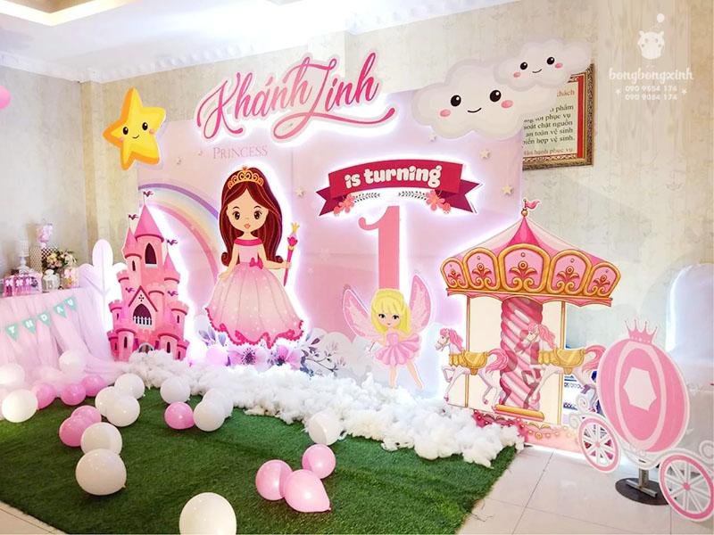 Backdrop sinh nhật 3D màu hồng BBX005