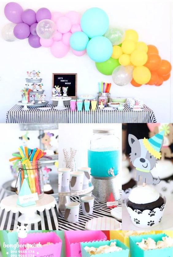 Trang trí sinh nhật cho bé với bàn quà chủ đề tuổi chó BBX024