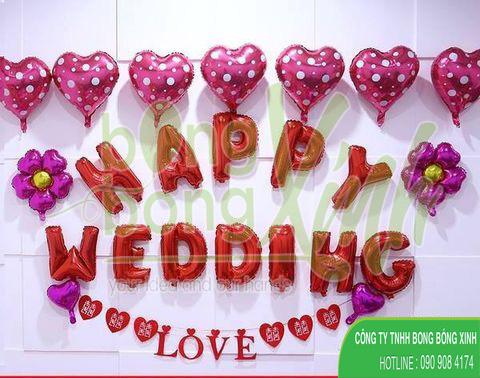 Bong bóng bạc Happy Wedding BBBN026