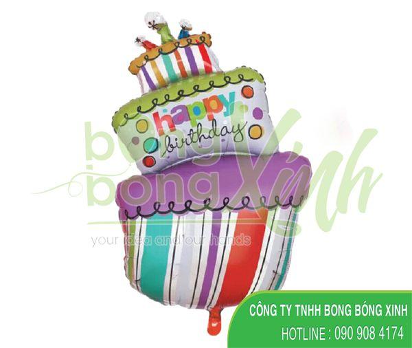 Bong bóng bạc bánh sinh nhật 3 tầng BBBN048