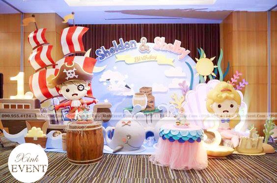 Trang trí sinh nhật 3D chủ đề cướp biển cho bé trai XV187